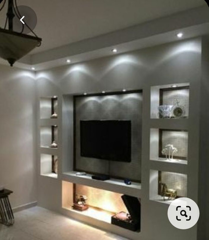 Painel para tv com placas de gesso e parede com placas de gesso 3D.  - Foto 4