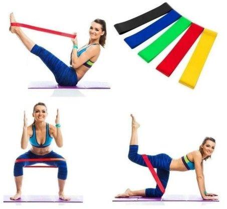 Kit 5 Mini Faixas Elásticas de Resistência Pilates Treino Academia Fisioterapia  (A101) - Foto 2