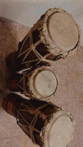 trio de atabaque artesanal - Foto 4