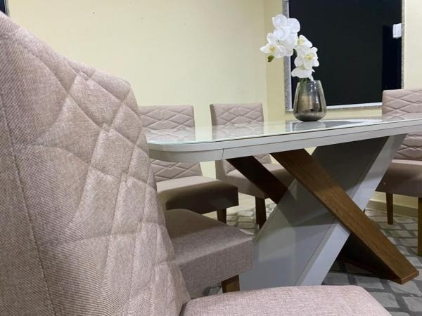 Mesa de Jantar Imperatriz 180cm Canto Copo Off White/Imbuia c/ 6 cadeiras - Foto 2