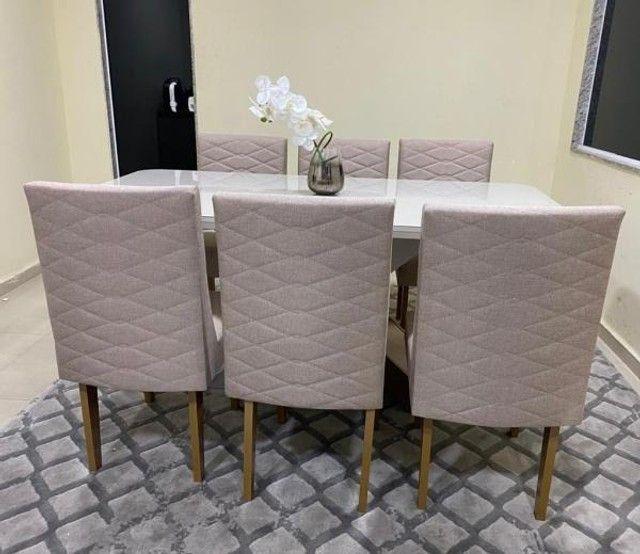 Mesa de Jantar Imperatriz 180cm Canto Copo Off White/Imbuia c/ 6 cadeiras - Foto 5