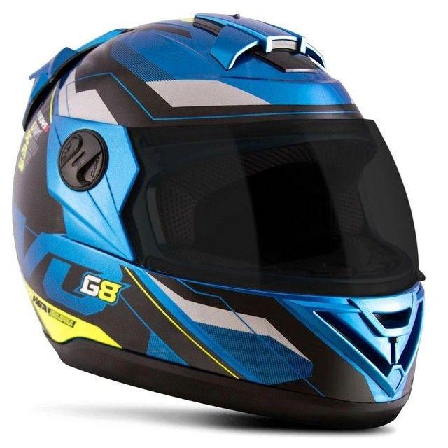 Capacete Evolution G8 Evo Azul / Amarelo - Foto 5
