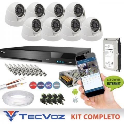 Sistema com 8 câmeras de segurança HD em alta definição