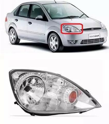 Farol Fiesta Hatch Sedan Cromado 2003 2004 2005 2006 Direito