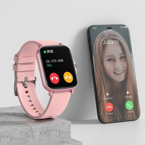Relógio Smartwatch DT36 Rosa e Cinza - Foto 6