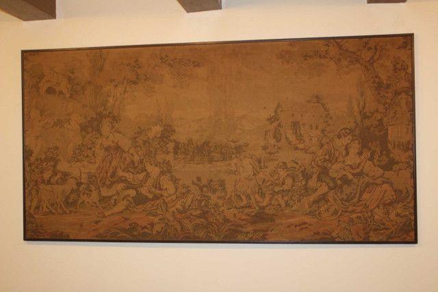 Quadro Tapeçaria / Tapete de parede / Gobelin / em Tecido Bege 103 cm x  203 cm x  3 cm