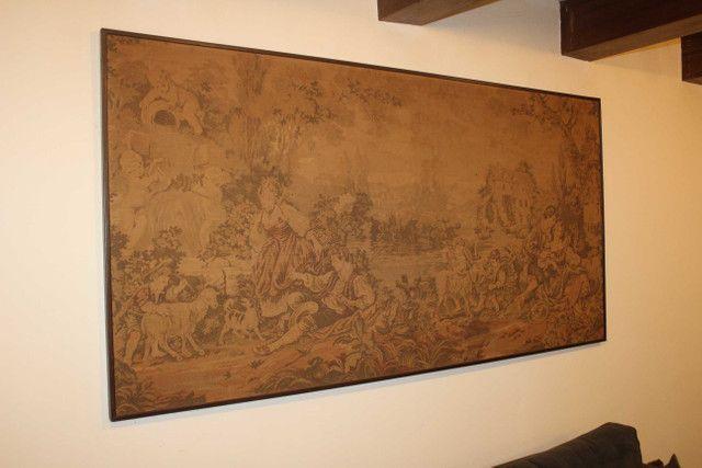 Quadro Tapeçaria / Tapete de parede / Gobelin / em Tecido Bege 103 cm x  203 cm x  3 cm - Foto 4