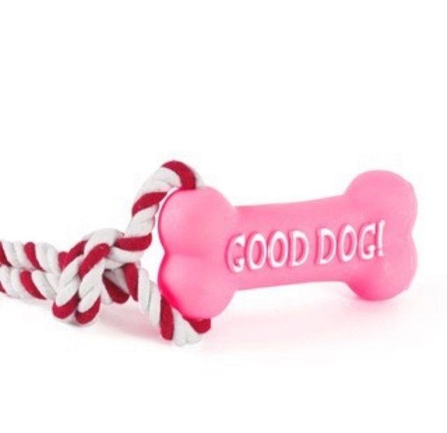 Brinquedo Pet Osso com Corda Borracha Mordedor Interativo - Foto 4