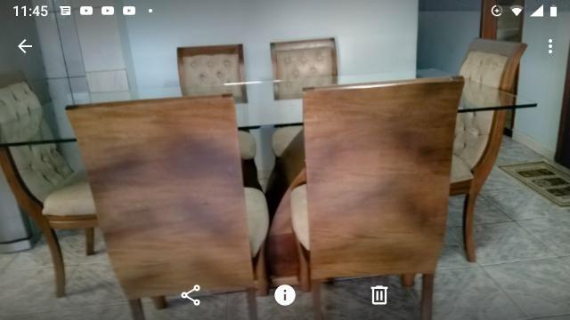 Grande mesa de vidro com madeira - Foto 3