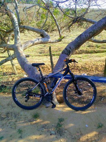 Bicicleta Aro 29 Woltz Aço 21 Marchas Freio A Disco - Preto e Vermelho - Foto 3