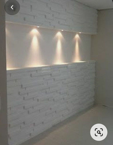 Painel para tv com placas de gesso e parede com placas de gesso 3D.  - Foto 3