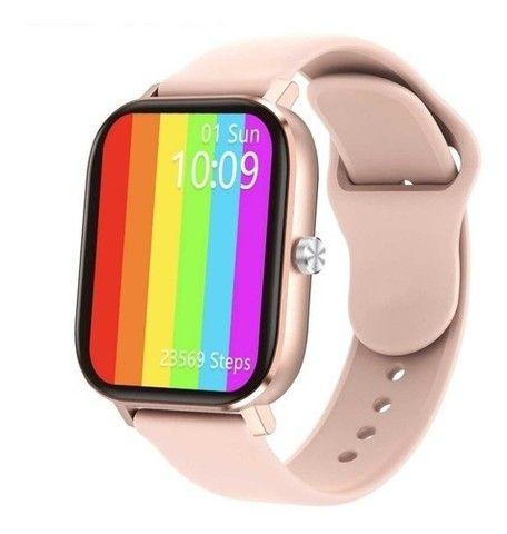 Relógio Smartwatch DT36 Rosa e Cinza - Foto 4
