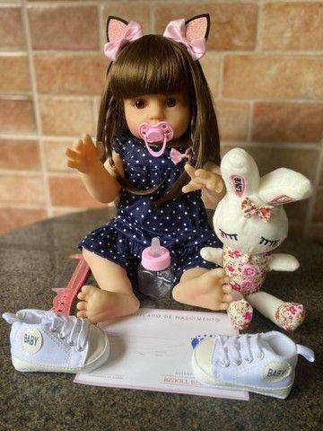 Boneca bebê Reborn toda em Silicone Cabelão realista Nova Original (aceito cartão) - Foto 3