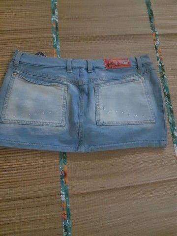 Mini saia jeans moletim tam 38/40 - Foto 2