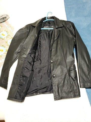 Blazer feminino de couro sintético - Foto 2