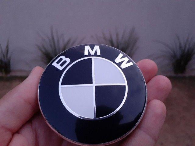 calota centro da roda emblema BMW 68mm preto e branco