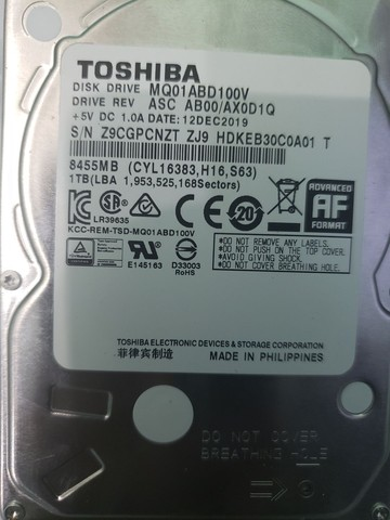 HD 1tb 1000g Toshiba notebook 2.5  p/ case HD externo original