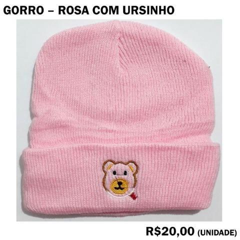 Gorro Rosa com Ursinho