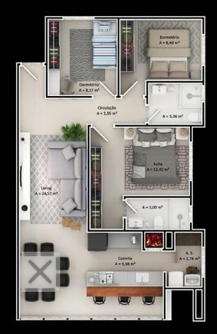 Apartamento 1 Suíte mais 2 Dormitórios 88 M² 1 Vaga de Garagem no Bairro São Judas Itajaí - Foto 16