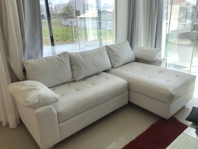 Sofa em L com Chaise Branco - Foto 2