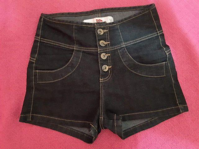 Short jeans cós alto e botões - Foto 2