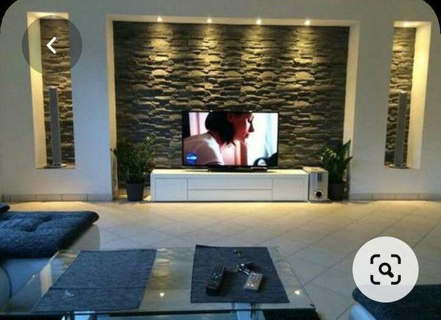 Painel para tv com placas de gesso e parede com placas de gesso 3D.  - Foto 2