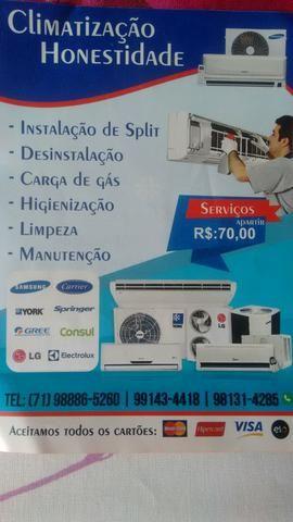 Instalação Manutenção Ar condicionado apartir 70,00