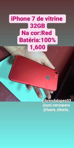 iPhone 7 de 32GB, de Vitrine sem marcas, saúde da bateria batéria 100% 1,600
