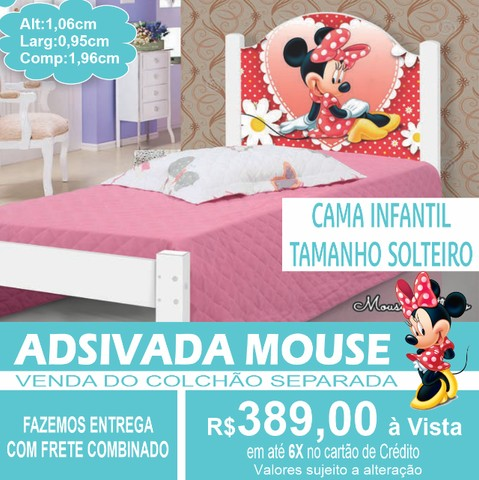 Cama Mouse Juvenil Adesivada 100%MDF