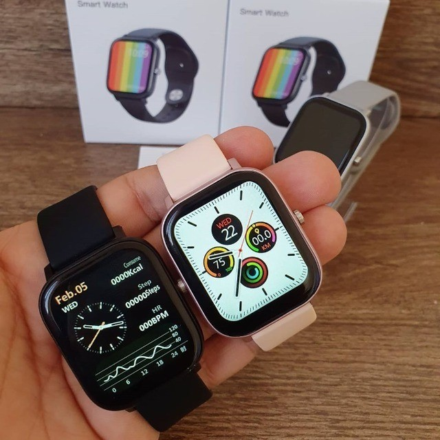 Relógio Smartwatch DT36 Rosa e Cinza