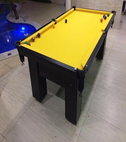 Mesa de Caçapa de Rede Cor Preta MDF Tecido Amarelo Tx Mod. MLUA4895 - Foto 2