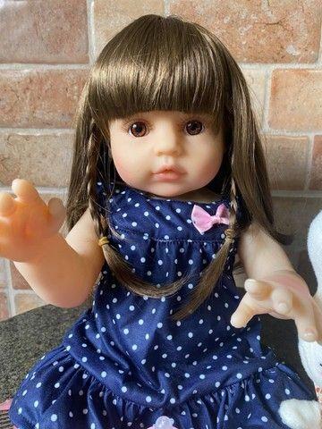 Boneca bebê Reborn toda em Silicone Cabelão realista Nova Original (aceito cartão) - Foto 2
