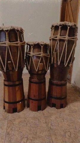 trio de atabaque artesanal - Foto 3