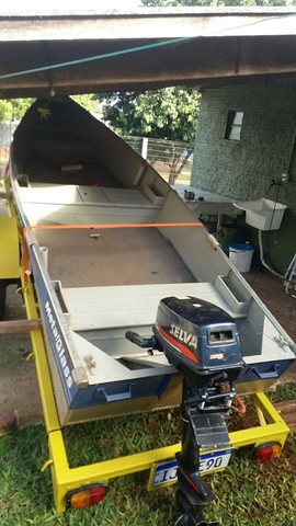 Vendo barco aluminio 4mts borda baixa - Foto 4