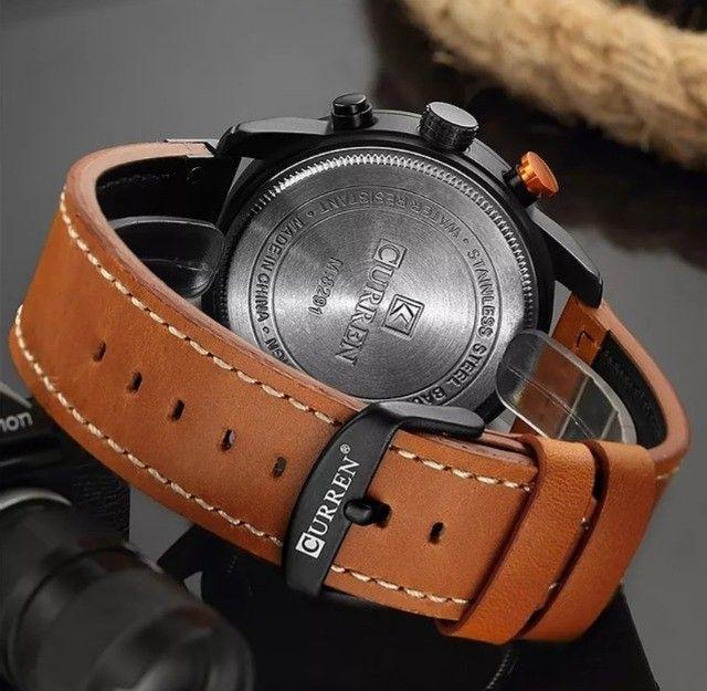 Relógio Curren com cronógrafo, caixa em aço inoxidável e pulseira de couro PU - Foto 4