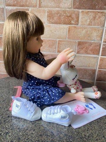 Boneca bebê Reborn toda em Silicone Cabelão realista Nova Original (aceito cartão) - Foto 4