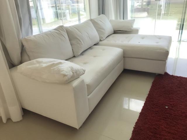 Sofa em L com Chaise Branco - Foto 3