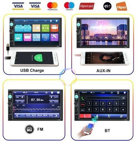 Central Multimídia Display Digital Bluetooth, Usb, Fm - Foto 7