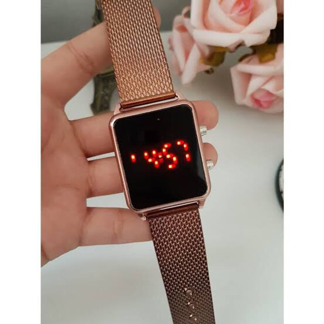 Relógio LED Digital data hora Rose Dourado Entregamos com taxinha de entrega