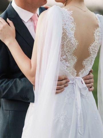 Vestido de noiva com capa (veu) estilo grego Artha Ateliê