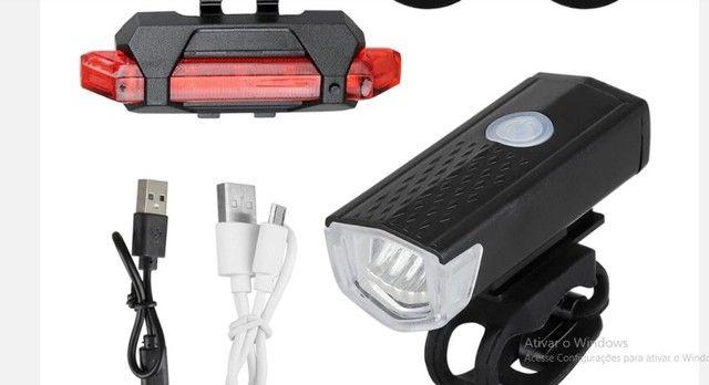 Farol, Lanterna para bicicleta Usb recarregável luz, Bike Dianteira e traseira ? R$ 55,00 - Foto 3