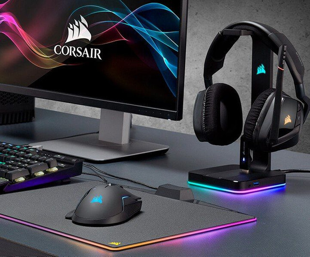 Suporte para Headset Gamer Corsair USB Surround 7.1, RGB, Preto ST100 - CA-9011167 - Foto 2