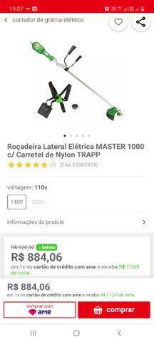 Roçadeira Lateral Elétrica MASTER 1000 c/ Carretel de Nylon TRAPP<br><br>
