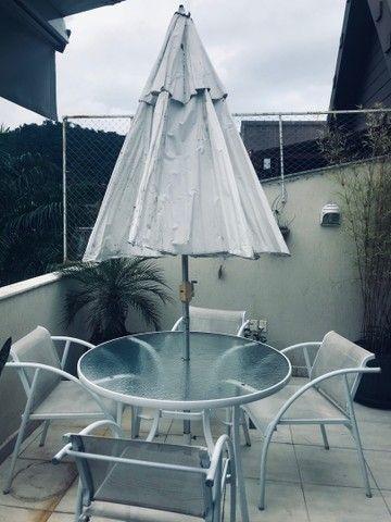 Mesa redonda com Cadeiras de alumínio Com Ombrelone  - Foto 3