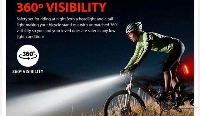 Farol, Lanterna para bicicleta Usb recarregável luz, Bike Dianteira e traseira ? R$ 55,00 - Foto 4