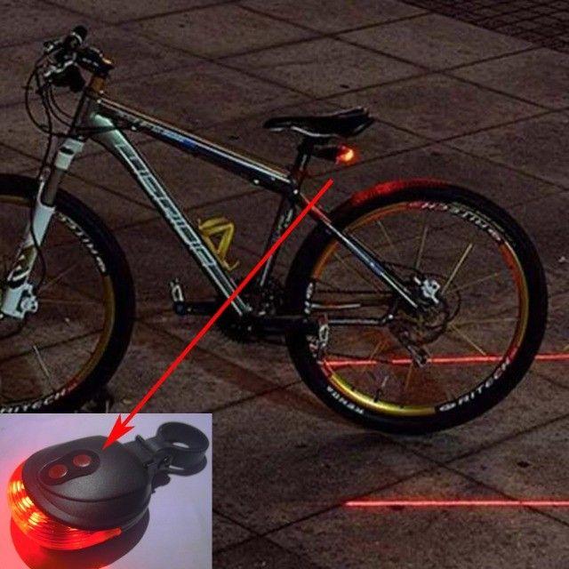 Lâmpada para Bike, bicicleta, Led, 2 Laser / vermelha / luz De Aviso De Cauda Traseira - Foto 2