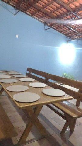 Mesa x de madeira com 2 banco - Foto 6
