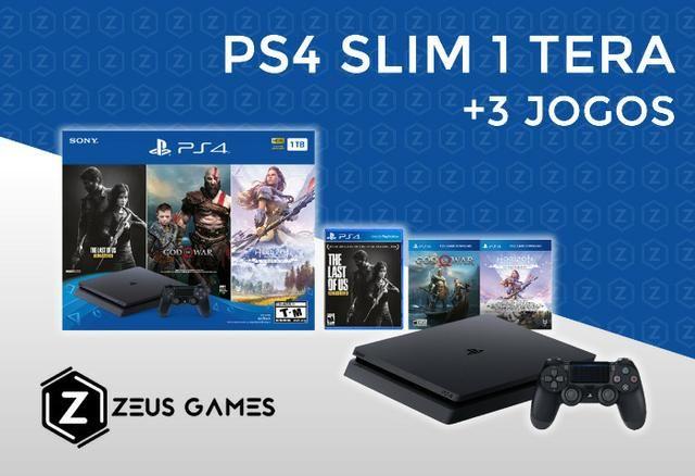 PS4 Slim 1 Tera Novo + 3 Jogos - Garantia - 12x no cartão - Zeus Games