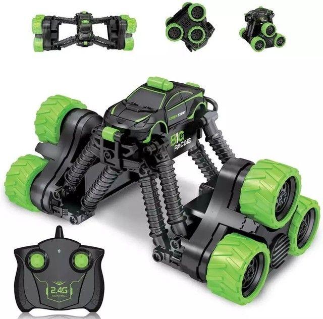 Carrinho Brinquedo Transformar Dublê 360º Gira Alta Velocidade com Controle - Foto 2