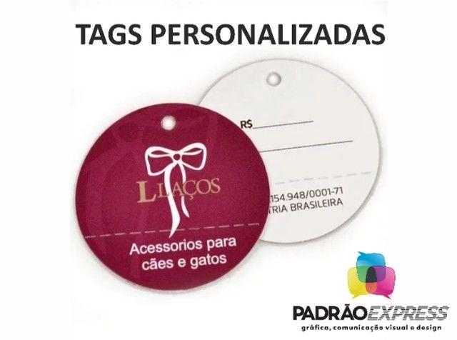 Tags personalizadas retangular, olval ou redondas com 5x5 centímetros. - Foto 3